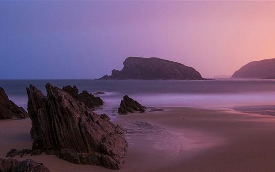 Papéis de Parede praia do nascer do sol, perto de Santander, no norte de Espanha