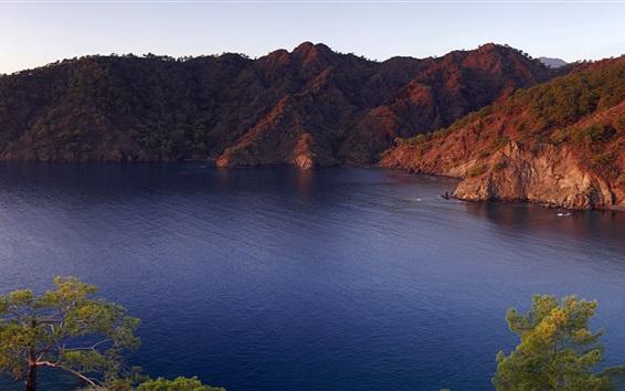 Wallpaper Sunrise, mountains, Mediterranean Sea, Lycia, Turkey