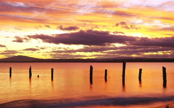 Wallpaper Sunrise, red sky, Bridport, northeastern Tasmania, Australia