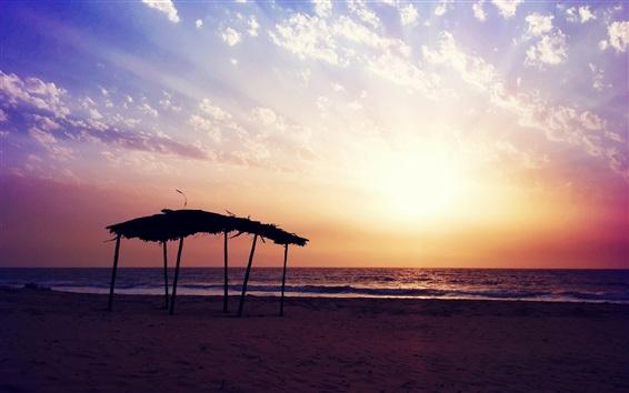 Обои пляж закат, море, вечер, облака