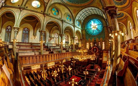 Fond d'écran Synagogue, vitraux, banc, New York, États-Unis