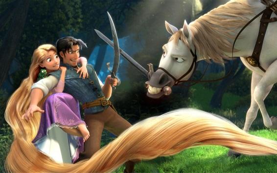 电影《魔发奇缘》中长发公主为了巫婆可以变的年轻在巫婆为她梳头发图片