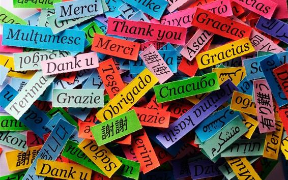 Обои Благодаря разного языка, красочные бумажные фигуры