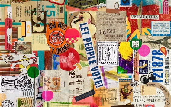 Wallpaper Ticket, stamp, letter, colors, creative art