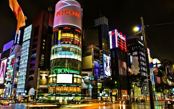 Wallpaper Tokyo, Japan, beautiful city night, buildings, shops, streets, lights