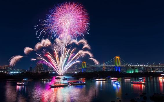 Fondos de pantalla Tokio, ciudad, fuegos artificiales, noche hermosa, bahía, puente, iluminación, Japón