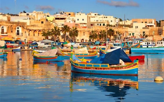 Papéis de Parede Viajar para Malta, barcos, casas, mar