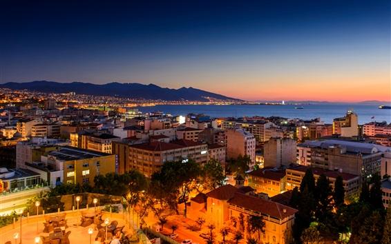 Fond d'écran Turquie, Izmir, la nuit, les maisons, la mer, la côte, les lumières