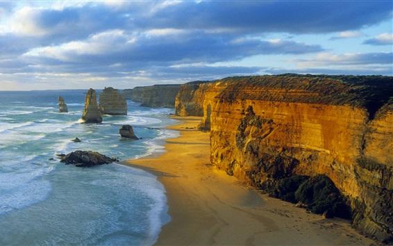 Fond d'écran Douze Apôtres, Parc National de Port Campbell, Victoria, Australie, mer, nuages