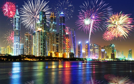 Fond d'écran UAE, Dubai, belle nuit, front de mer, gratte-ciel, lumières, feux d'artifice