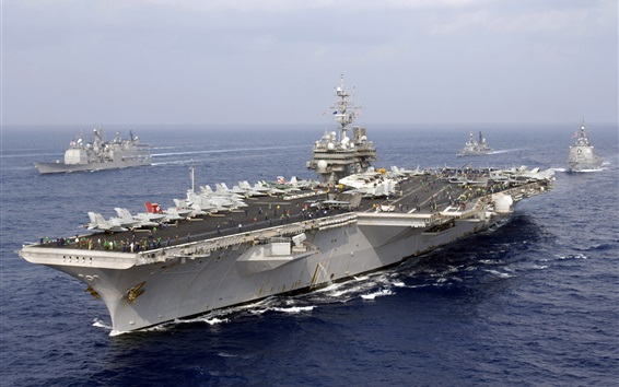 Wallpaper US Navy, American aircraft carrier, Japan Maritime Self-Defense Forces
