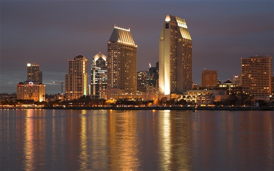 Wallpaper USA, California, San Diego, city night, skyscrapers, lights, river