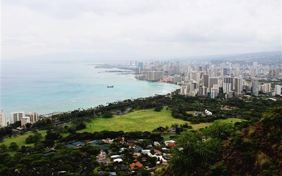 Fond d'écran États-Unis, Oahu, Diamond Head, sur la côte, la ville