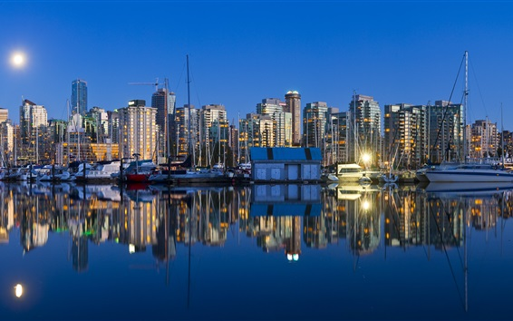 Wallpaper Vancouver, British Columbia, Canada, city night, boats, skyscrapers, water reflection