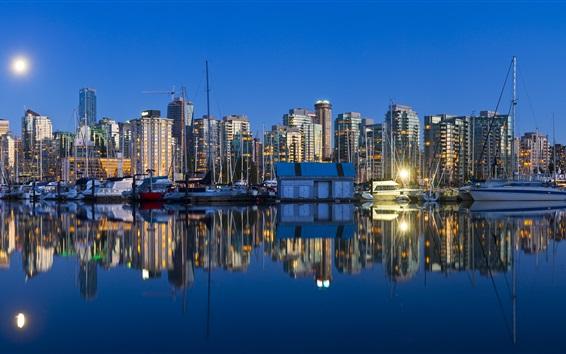 Fondos de pantalla Vancouver, Columbia Británica, Canadá, ciudad de la noche, los barcos, los rascacielos
