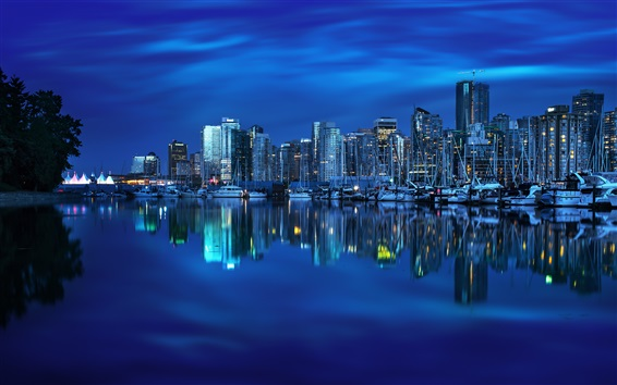 Wallpaper Vancouver, British Columbia, Canada, yacht, bay, reflection, buildings, city night