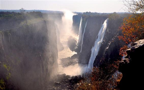 Wallpaper Victoria Falls, Zambia, great waterfalls, fog, autumn