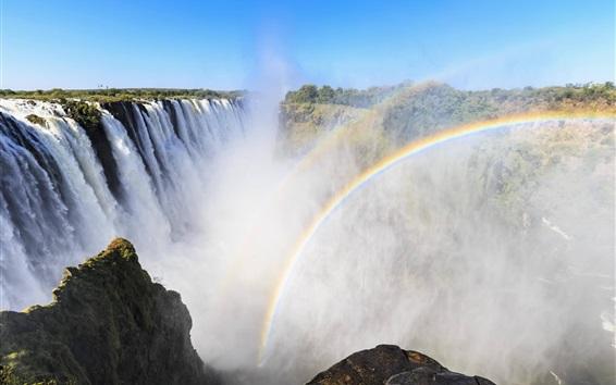 Wallpaper Victoria Waterfalls, Africa, rainbow, mist