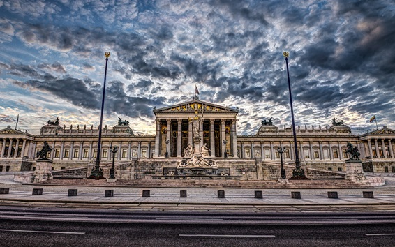 Обои Вена, Австрия, здание парламента, облака, закат