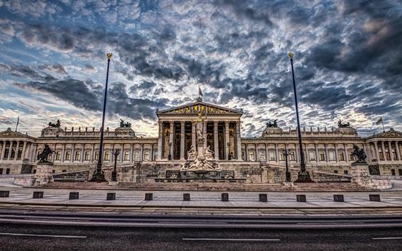 Wallpaper Vienna, Austria, Parliament building, clouds, dusk