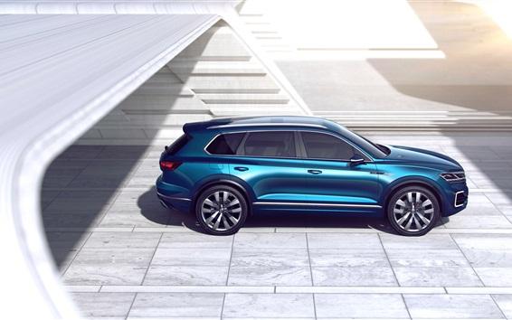 Fond d'écran Volkswagen T-Prime GTE Concept SUV bleu vue de côté de voiture