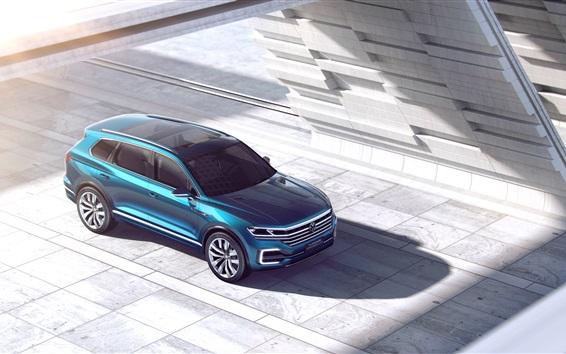 Fond d'écran notion GTE Volkswagen T-Prime SUV bleue vue de dessus