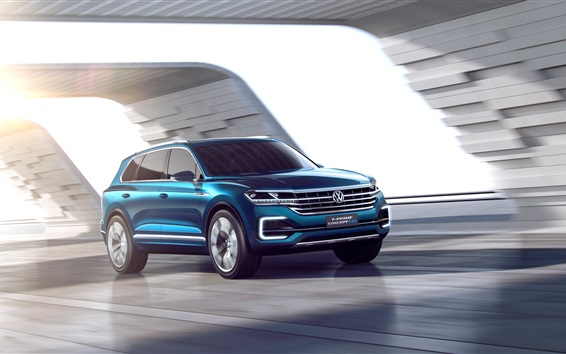 Wallpaper Volkswagen T-Prime concept GTE blue car