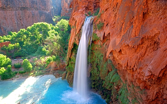Wallpaper Waterfall, river, plants, cliff, nature scenery