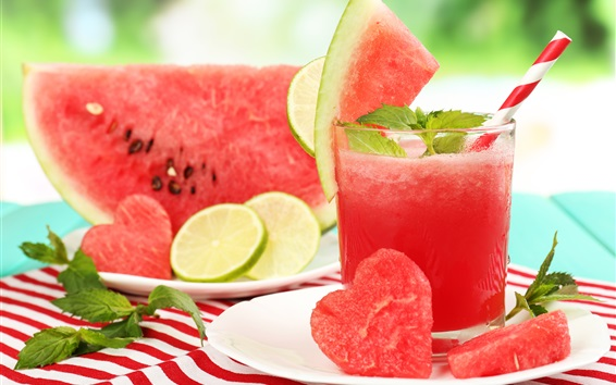 Wallpaper Watermelon, slices, juice, love hearts, summer drinks