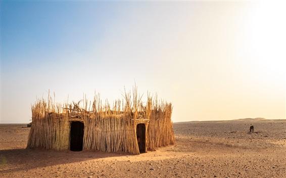 Hintergrundbilder Westliche Sahara, Marokko, Wüste, Schilf Hütte, Sonne, heiß