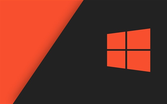 Wallpaper Windows 10 system logo, orange style