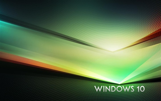 Wallpaper Windows 10 theme, green abstract background