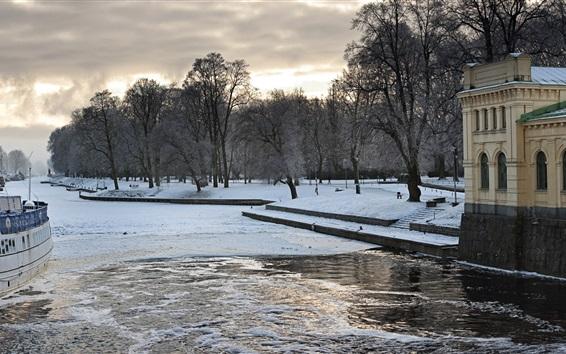Papéis de Parede Inverno, rio, barcos, neve, casas, Uppsala, Suécia