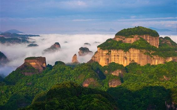 Fondos de pantalla Patrimonio Natural de la Humanidad, Danxia la montaña, paisaje de China