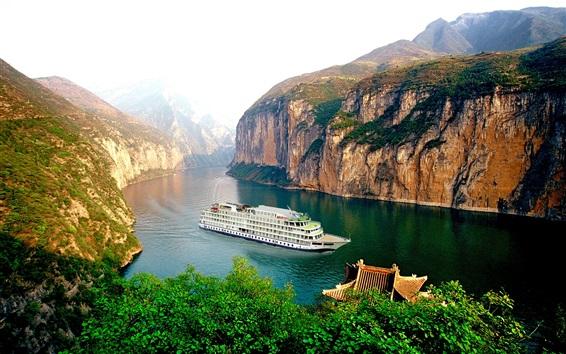 Wallpaper Yangtze River, boat, cruise, mountain, cliff, Chinese landscape