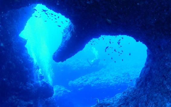 Обои Ёрон остров, синее море под водой, рыба, Япония