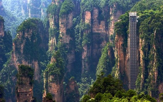 Papéis de Parede Zhangjiajie paisagem da natureza, China, penhascos, montanhas, elevador passeios