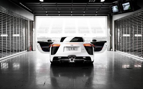 Обои 2012 Lexus LFA белый вид сзади автомобиля, крылья
