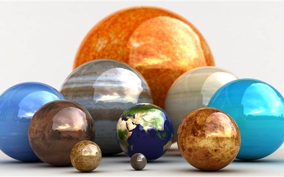 Wallpaper 3D balls, planets, earth, colorful