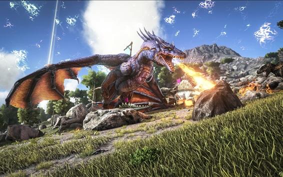 Обои ARK: Выживание Evolved, огнедышащий дракон