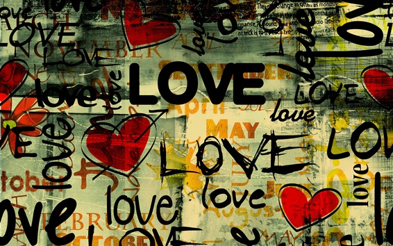 Wallpaper About Love, different style inscriptions