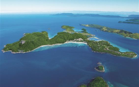 Wallpaper Aerial to view Hamilton Island, blue sea, Australia