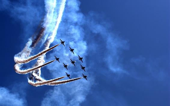 Wallpaper Air show, festival, planes, smoke, blue sky