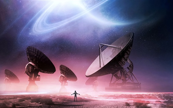 Wallpaper Antennas, space, stars, planets, creative pictures