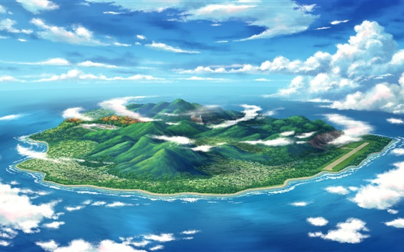 Hintergrundbilder Kunst-Design, Meer, Insel, Gebirge, Wolken