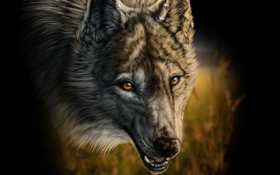 Fondos de pantalla el dibujo del arte, lobo, colmillos