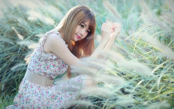 Fondos de pantalla asiatico en la hierba, pelo largo, cara, ojos, verano