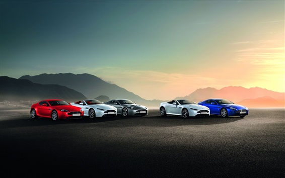 Wallpaper Aston Martin five different colors cars