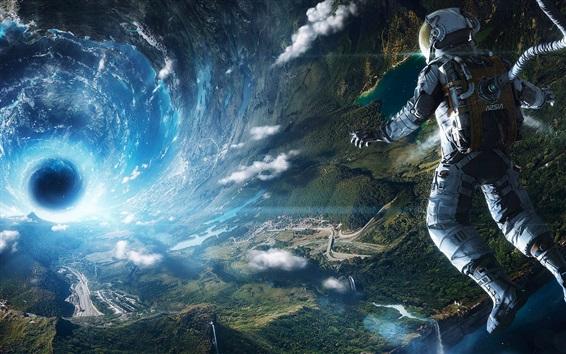 Обои Астронавт взгляд на землю, космос, черная дыра