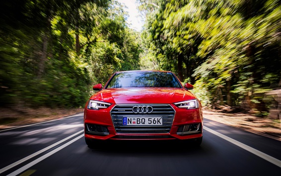 Wallpaper Audi A4 Sedan front view, red, speed